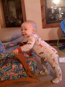 Elijah uses rocking chair for standing practice
